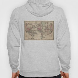Vintage Map of The World (1864) Hoody