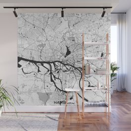 Hamburg City Map Gray Wall Mural