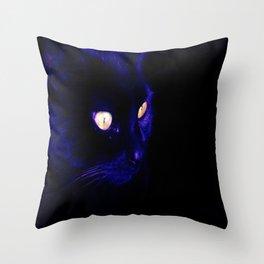 Black Cat Photograph, Halloween Eyes Throw Pillow