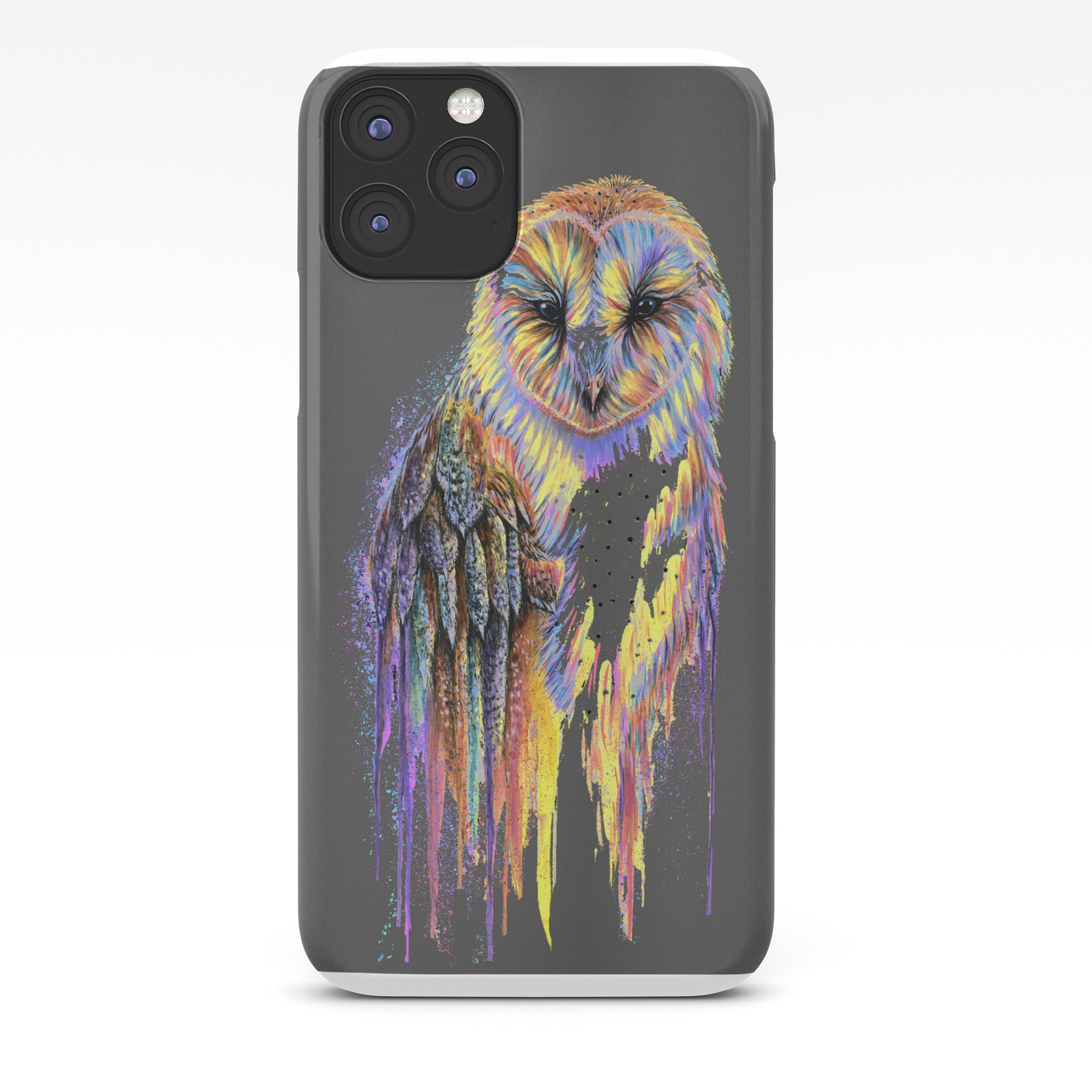 Colorful Owl Dark Background Iphone Case By Michellefaberart Society6