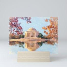 Cherry Blossoms surround the Jefferson Memorial in DC Mini Art Print