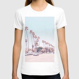 California Sidewalks // Blue Ocean Skyline Roadside Palm Trees Tropical Hollywood Paradise T-shirt