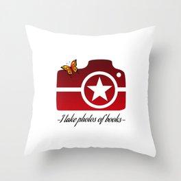 I take photos of books-Red Throw Pillow
