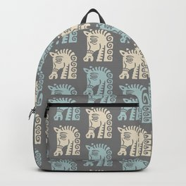 Mid Century Horse Pattern Grey Blue and Beige Backpack