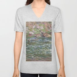 Rapids on the Petite Creuse at Fresselines (1889) by Claude Monet high resolution famous painting Unisex V-Neck