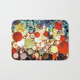 Contemporary Blue Orange Bubble Abstract Bath Mat