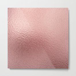 Rose  quartz- pink metal foil background Metal Print