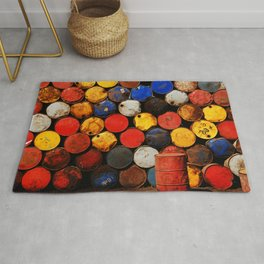 Gasoline Rusty Tin Cans Pattern Rug