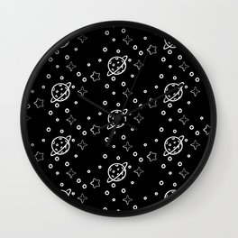 Planet and Stars pattern Wall Clock