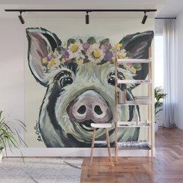 Pig Art, Flower Crown Pig, Farm Animal Wall Mural