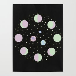And You? - Moon Phases Illustration Poster