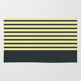Navy stripes on yellow Rug