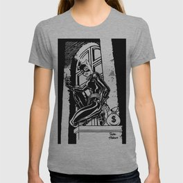 A Whip-Carrying Burglar / A High Stake Theft by Peter Melonas T-shirt