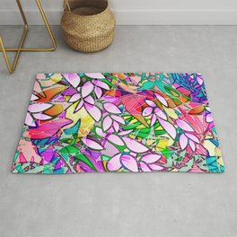 Grunge Art Floral Abstract G130 Rug