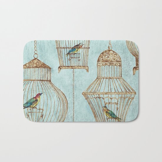 Vintage dream- Exotic colorful birds in cages on aqua background #Society6 Bath Mat