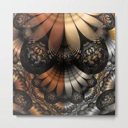 Autumn Fractal Pheasant Feathers in DaVinci Style Metal Print