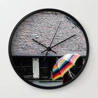 umbrella Wall Clocks featuring umbrella by Deviens