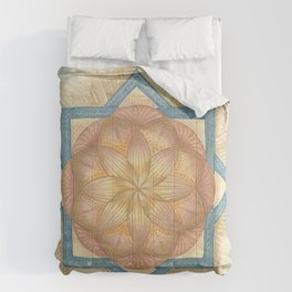 Golden & Blue Mandala Sacred Geometry Activation Comforters