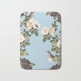 Birds and the Bees Blue Bath Mat