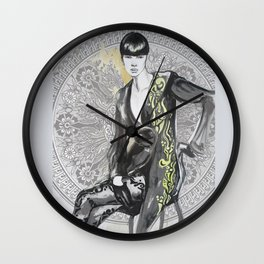 Fashion black and white illustration Wall Clock