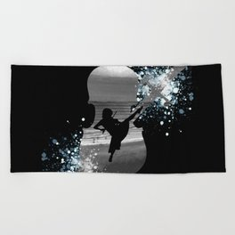 Let The Music Play - Black and White Beach Towel