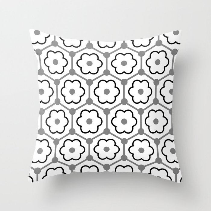 Floral Graphene - White - Gray - Black Throw Pillow