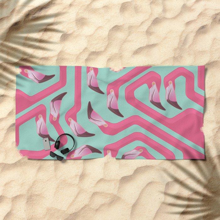 Flamingo Maze on beach glass background. Beach Towel