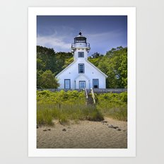 Old Mission Point Lighthouse in Grand Traverse Bay in Michigan Art Print