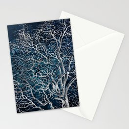 Midnight Silver tree - Hawtorn Stationery Cards