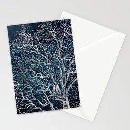 Midnight Silver tree - Hawtorn Stationery Cards