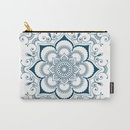 Mandala in Indian Ink - Blues & White - Boho - Festival Gear Carry-All Pouch
