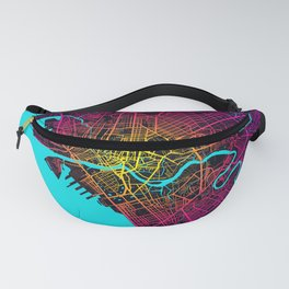 Manila City Map of Philippines - Neon Fanny Pack