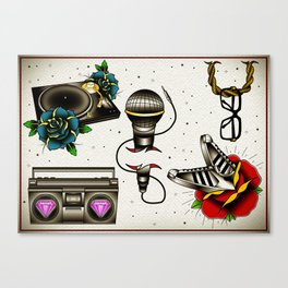 Old school Hip Hop Flash sheet Canvas Print