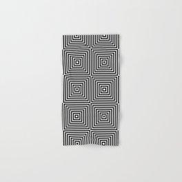 Square Optical Illusion Black And White Hand & Bath Towel