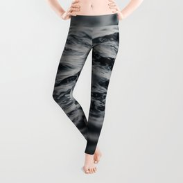 Ocean Magic Black and White Waves Leggings