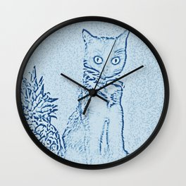 The Cat and the Pineapple - in Blue Wall Clock