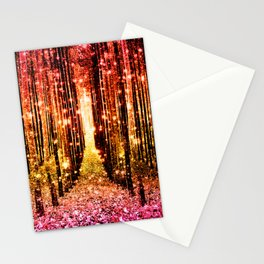 Magical Forest Sunset Pink Stationery Cards