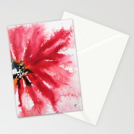 Crimson Red Abstract Flower Watercolor Stationery Cards