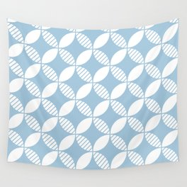 Mid Century Modern Geometric Flower Pattern Pale Blue 2 Wall Tapestry