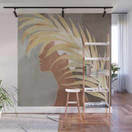 Woman with Golden Palm Leaf Wall Mural