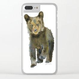Black Bear Cub Watercolor Clear iPhone Case