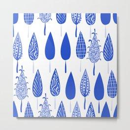 White blue leaves Metal Print