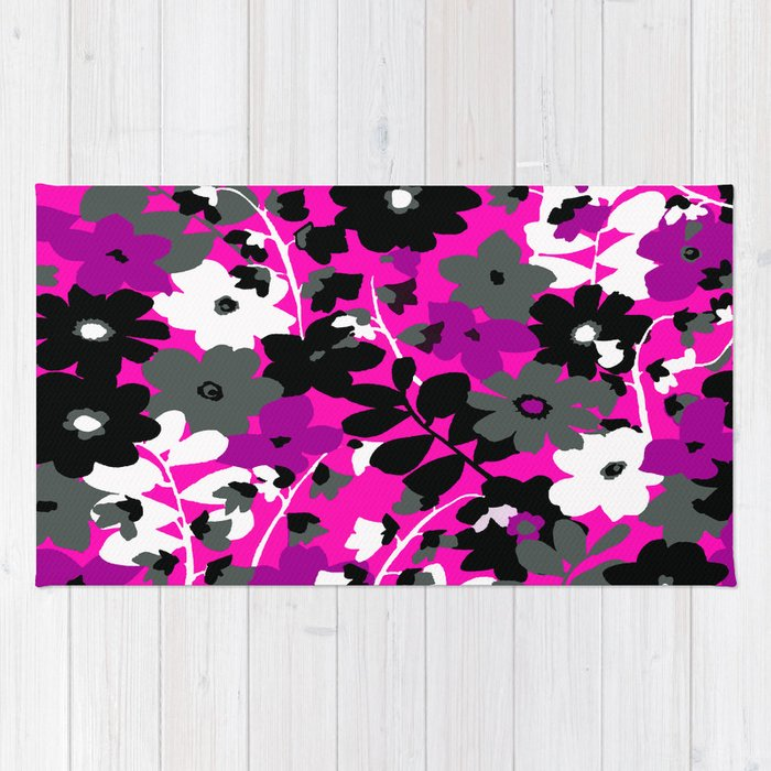 Black And White Toile Rug: SUNFLOWER TOILE PINK BLACK GRAY WHITE PATTERN Rug By