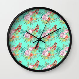 Country chic pink red aqua watercolor floral Wall Clock