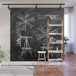 steampunk western country chalkboard art agriculture farm windmill patent print Wall Mural