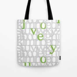 The ABC of i love you. In Olive Green. Tote Bag