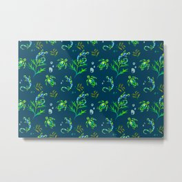Turtles,lizard pattern green background  Metal Print