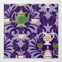 Victorian Tea Extra Large Set Purple by Lorloves Design Canvas Print