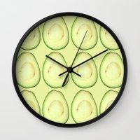 avocado Wall Clocks featuring avocado by Panic Junkie