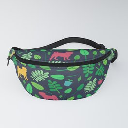 Colorful Pugs with Leaves - Pattern Fanny Pack